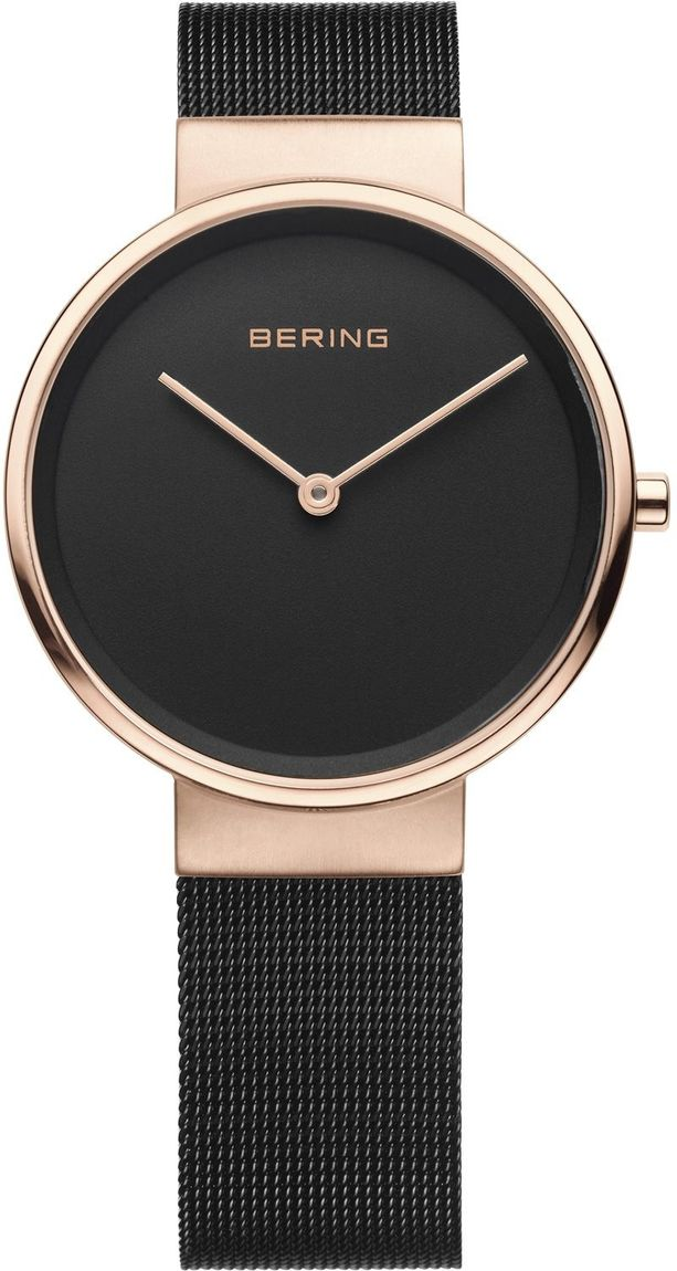 Bering Time - Classic - Ladies Rose Gold Plated & Black Milanese Mesh Watch (Womens) 14531-166