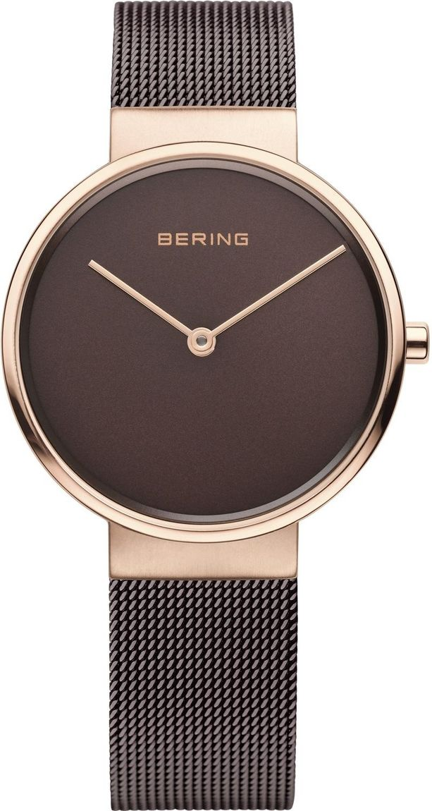 Bering Time - Classic - Ladies Two Tone Rose Gold Tone and Brown Milanese Mesh Watch (Womens) 14539-262