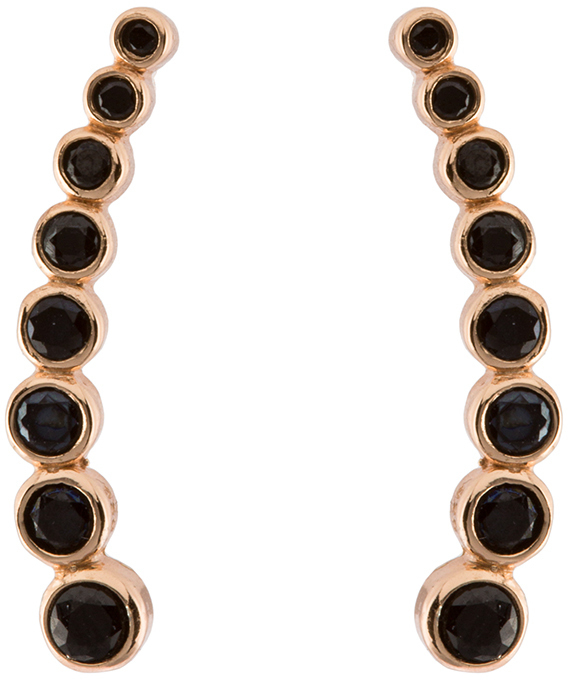Rose Gold Plated Sterling Silver Multi Round Black CZ Illusion Earrings