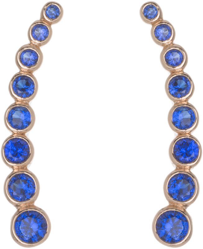 Rose Gold Plated Sterling Silver Round Blue CZ Illusion Earrings