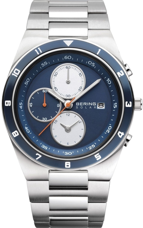 Bering Time - Solar -  Mens Silver & Dark Blue Stainless Steel Chronograph Watch 34440-708