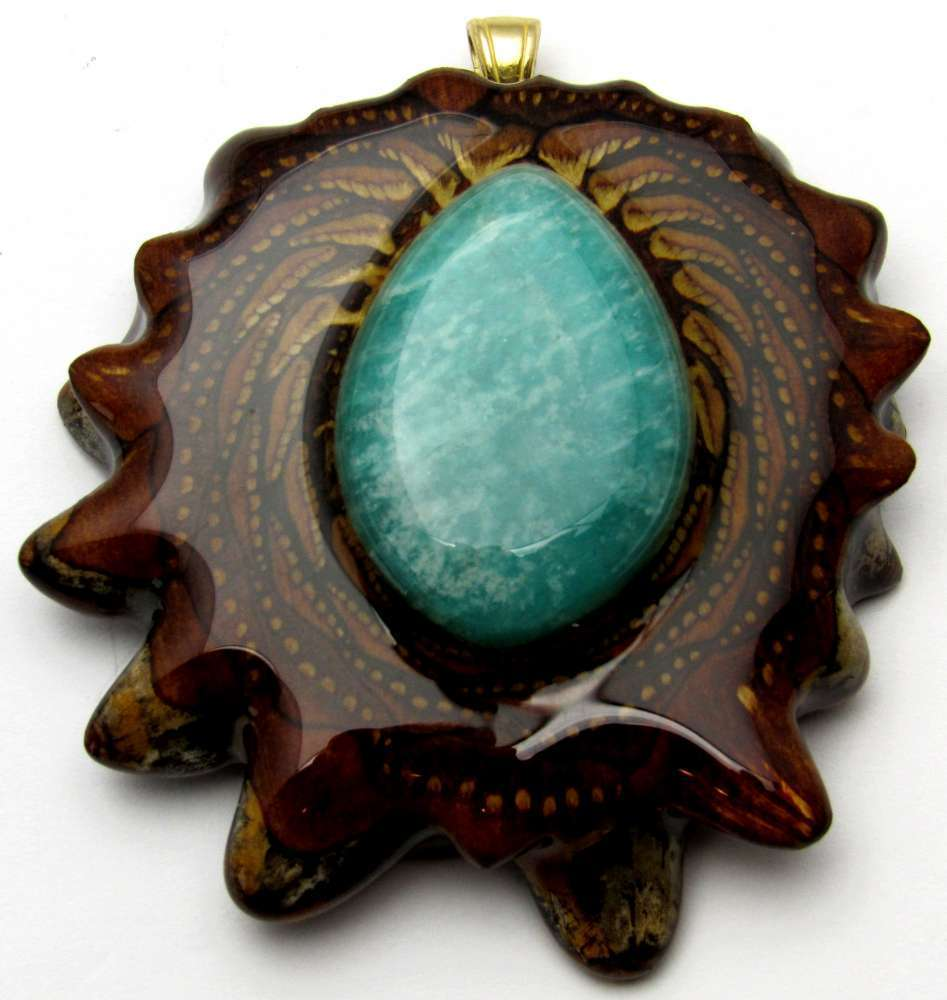 "Third Eye Pinecones - 2"" Amazonite Pendant - Handcrafted from the Knobcone Pinecone"
