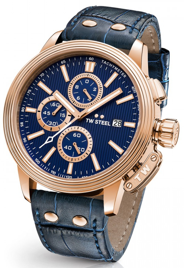 TW Steel Watch - Adesso Collection - CE7015 (Mens) Chronograph Rose Gold Plated Blue Leather Band 45mm