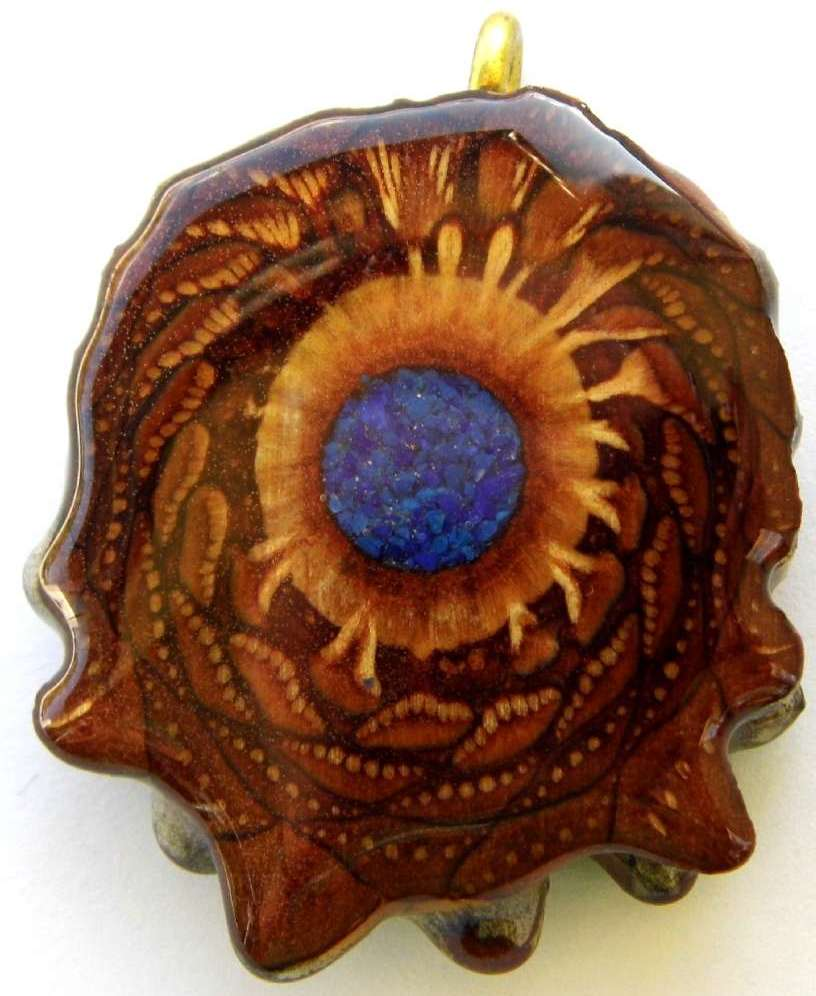 "Third Eye Pinecones - 1.5"" Crushed Lapis Glow In Dark Pendant - Handcrafted"