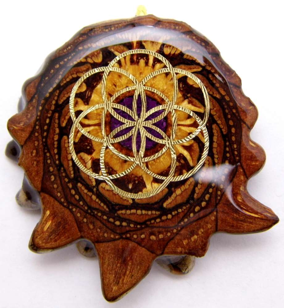 "Third Eye Pinecones - 2"" Crushed Sugilite w/ Seed of Life Pendant - Handcrafted from the Knobcone Pinecone"
