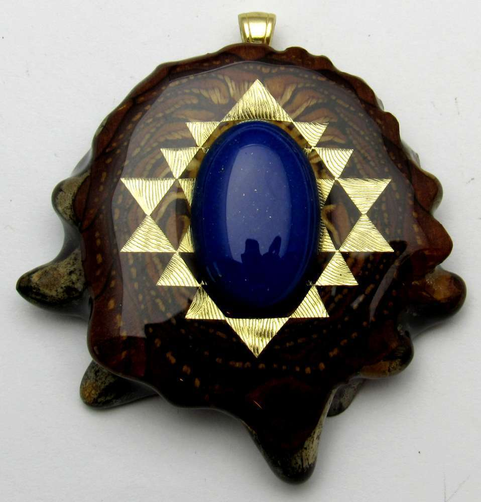 "Third Eye Pinecones - 2"" Lapis Lazuli w/ Sri Yantra Pendant - Handcrafted from the Knobcone Pinecone"