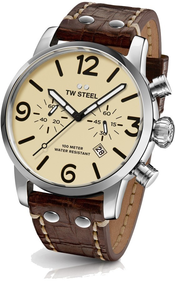 TW Steel Chronograph Quartz Watch - Maverick Collection Vintaged Leather Strap - MS23 (Mens)