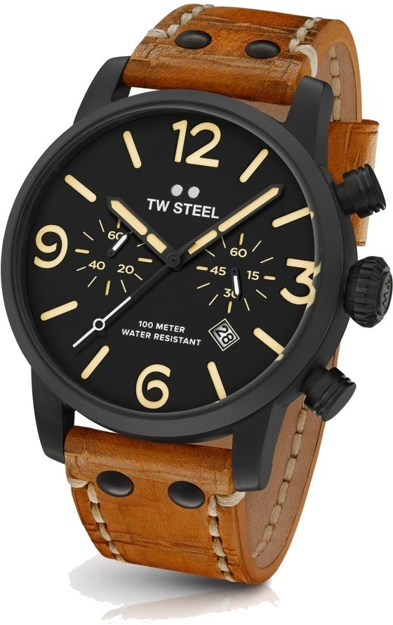 TW Steel Chronograph Quartz Watch - Maverick Collection Leather Strap - MS33 (Mens) - DISCONTINUED