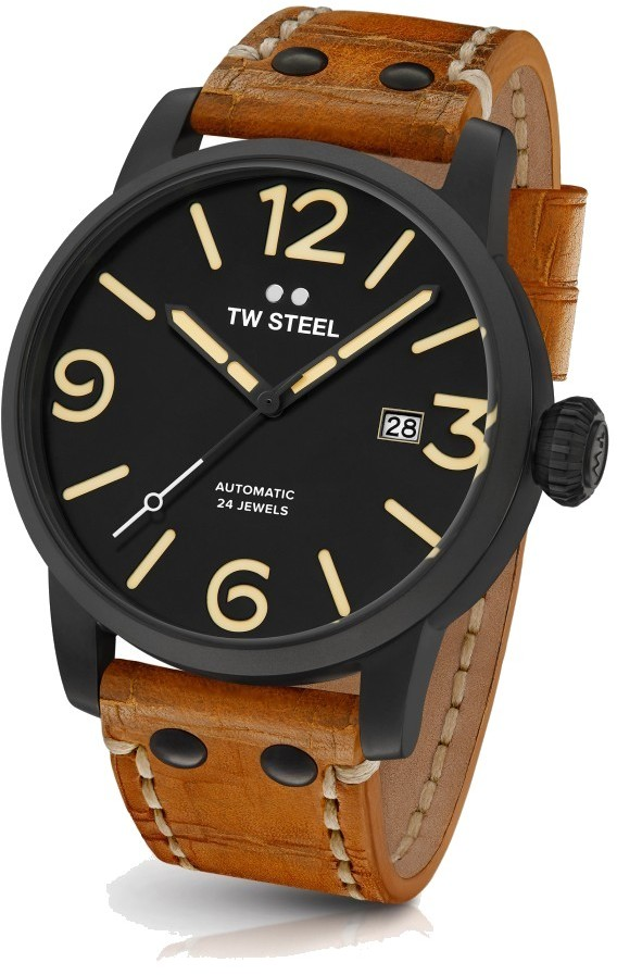 TW Steel Automatic 24 Jewels Watch 45mm - Maverick Collection Leather Strap - MS35 (Mens)