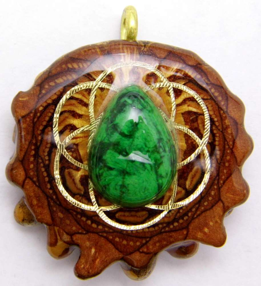 "Third Eye Pinecones - 1.5"" Maw Sit Sit w/ 24K Seed of Life Pendant - Handcrafted from the Knobcone Pinecone"