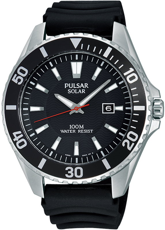 Pulsar On The Go Collection PX3037 - Mens Silver Solar Watch w/ Black Silicone Strap