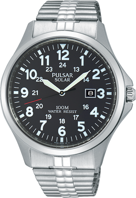 Pulsar Traditional Collection PX3069 - Mens Silver Solar Watch w/ Expansion Band - DISCONTINUED