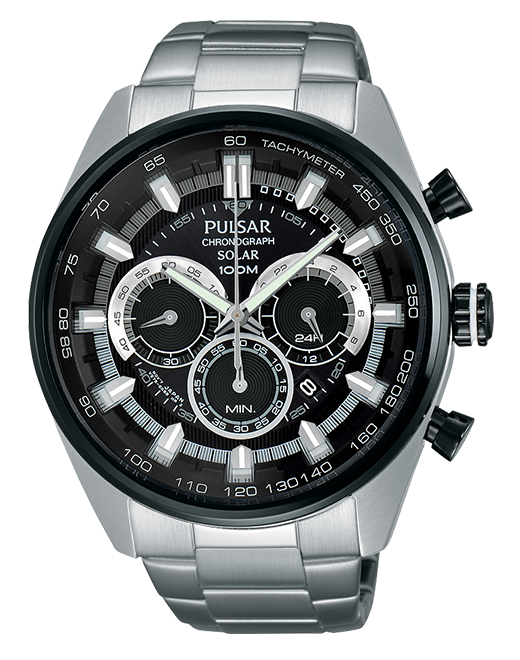 Pulsar On The Go Collection PX5033 - Mens Silver Solar Chronograph Watch w/ Black Dial
