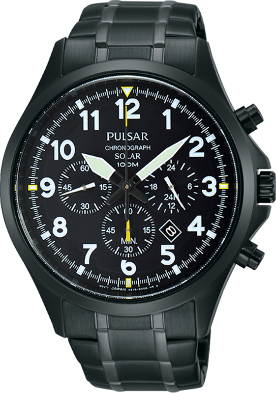 Pulsar Business Collection PX5039 - Mens Black Ion Solar Chronograph Watch