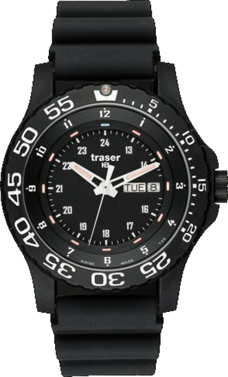 Traser Tritium Watch - Tactical Collection - P 6600 Elite Red w/ Rubber Strap - 100378