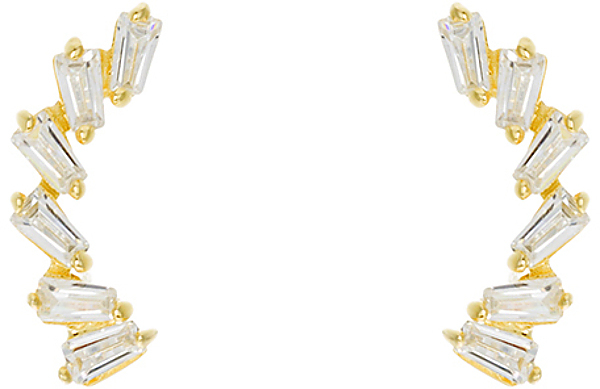 Gold Plated Sterling Silver Silver Baguette CZ Ear Crawler
