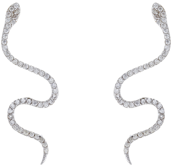 Sterling Silver CZ Snake Ear Crawler