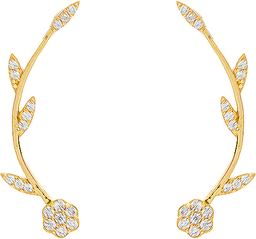 Gold Plated Sterling Silver CZ Flower Illusion Earrings