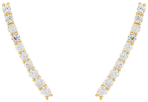Gold Plated Sterling Silver Round CZ Ear Crawler