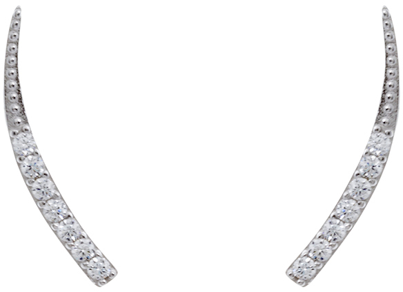 Sterling Silver CZ Curved Ear Crawler