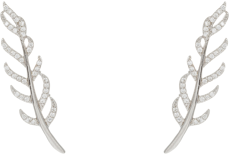 Sterling Silver CZ Fern Branch Ear Crawler