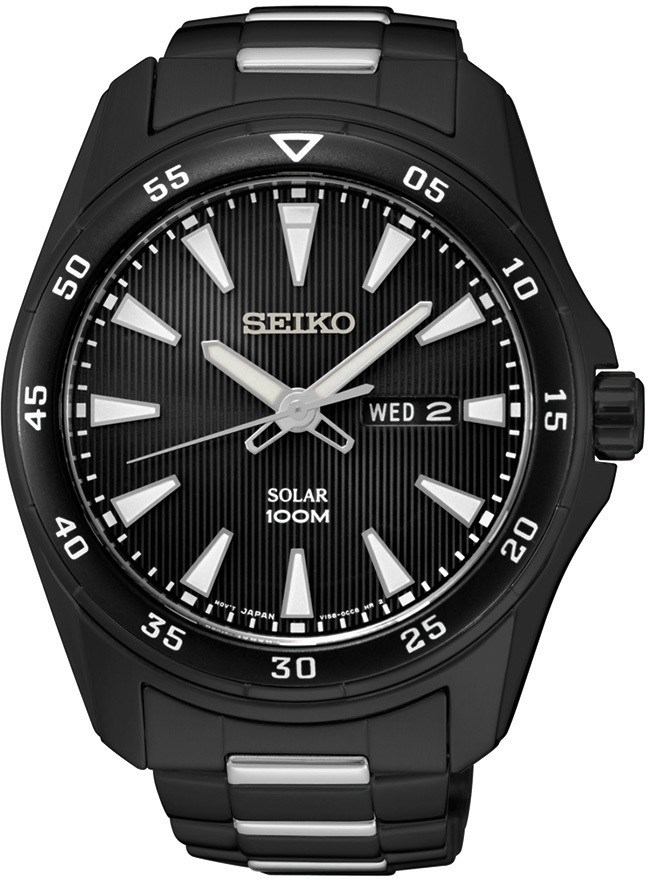 Seiko Core Collection SNE401 - Mens Black & Silver Solar Watch - LIMITED STOCK