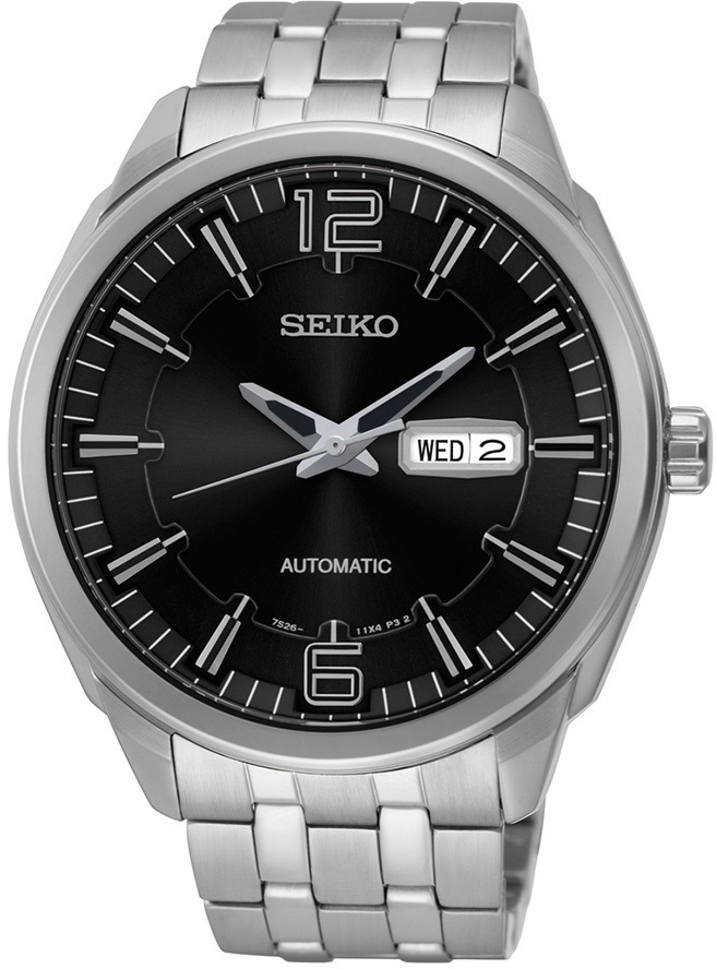 Seiko Recraft Series SNKN47 - Mens Silver Automatic Watch w/ Black Dial