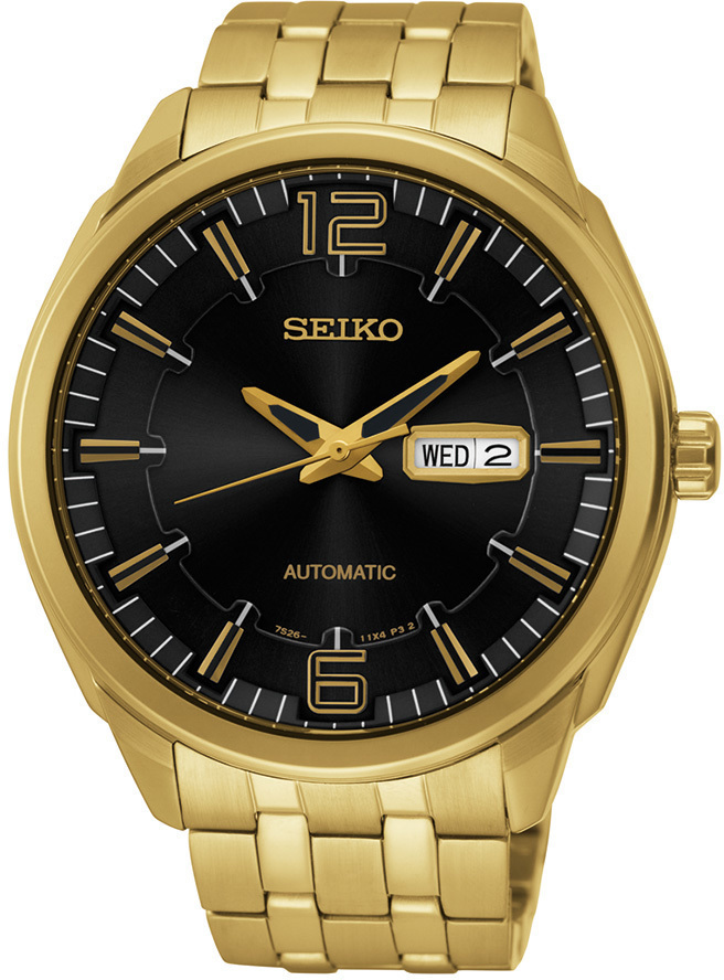 Seiko Recraft Series SNKN48 - Mens Gold Automatic Watch w/ Black Dial
