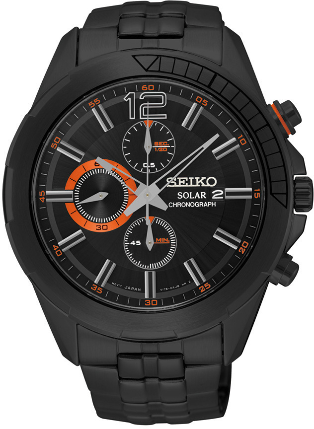 Seiko Recraft Series SSC383 - Mens Black Solar Chronograph Watch w/ Orange Accents - LIMITED STOCK