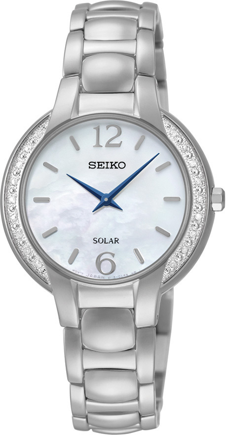 Seiko Core Collection SUP253 - Womens Silver Solar Watch w/ Diamond Bezel - LIMITED STOCK