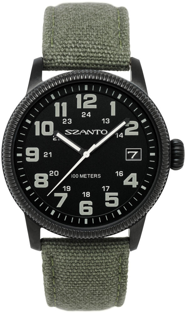 Szanto Mens Quartz Watch - 1101 - Black Dial w/ Army Green Canvas Strap - LIMITED STOCK