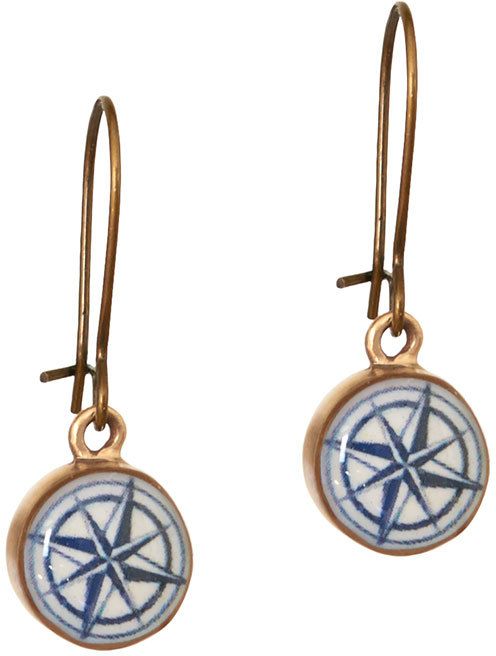 Vintaged Bronze Compass Rose Earrings by Chart Metalworks Nautical Map Travel Gift