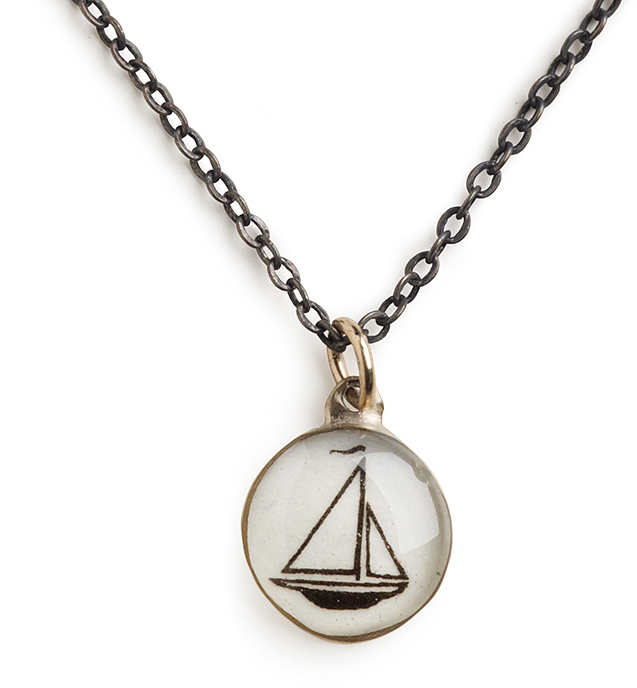 "18"" Vintaged Bronze Sailboat Necklace by Chart Metalworks Nautical Map Travel Gift"