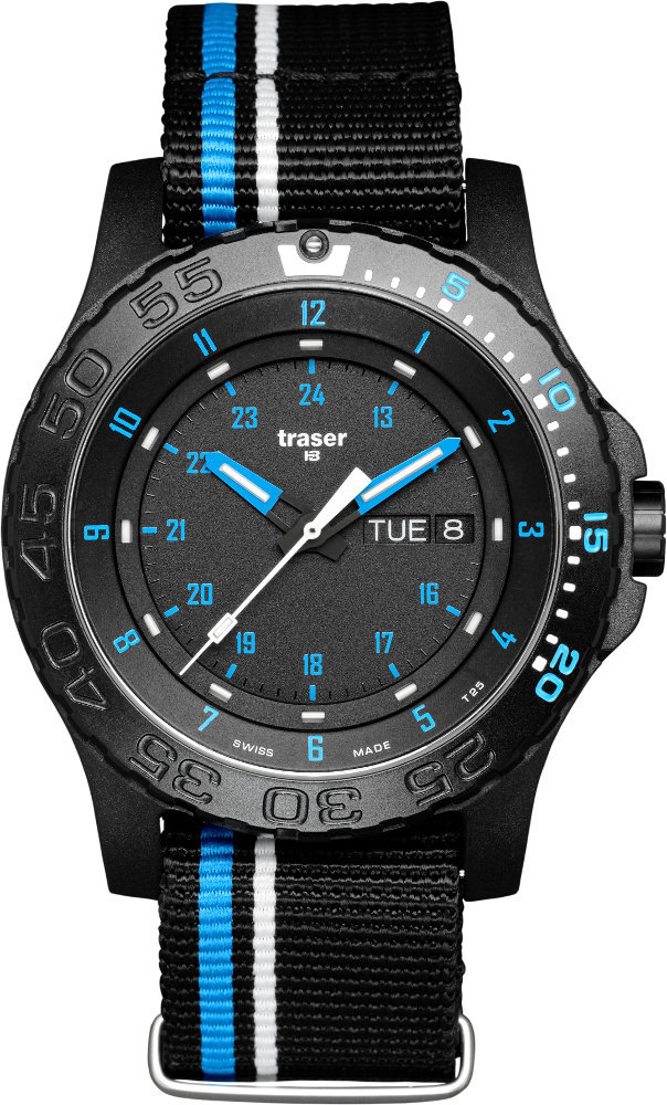 Traser Tritium Watch - Tactical Collection - Blue Infinity w/ Blue Stripe Nylon Strap - 105545
