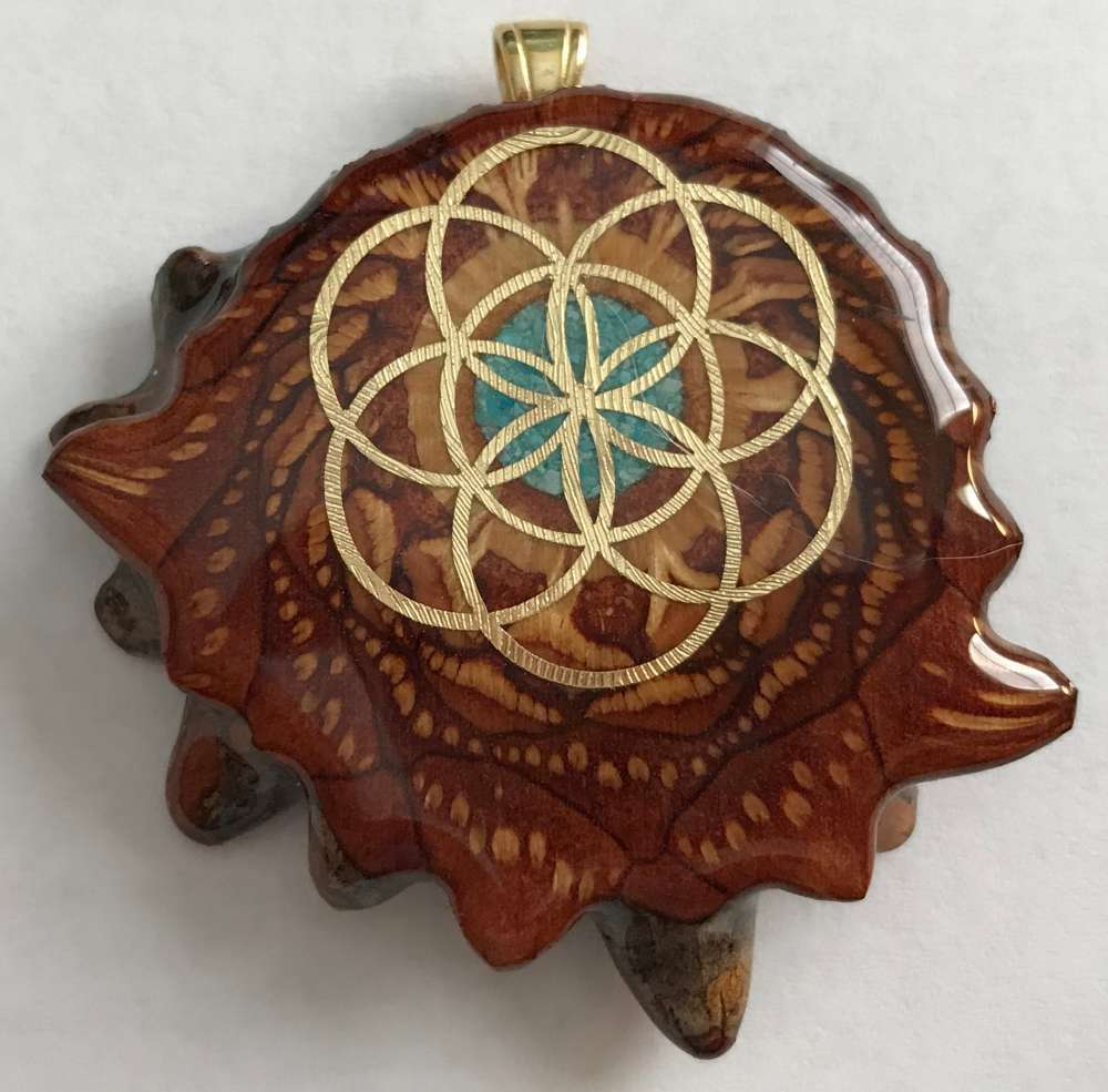 "Third Eye Pinecones - 1.5"" Crushed Turquoise w/ 24k Seed of Life Pendant - Handcrafted from the Knobcone Pinecone"