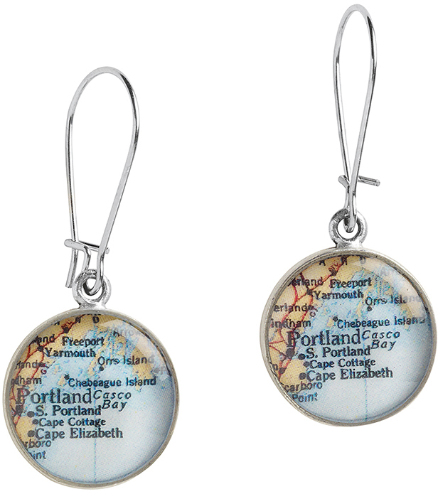 Customizable Map Travel Jewelry 3 4 Pewter Promise Earrings By Chart Metalworks