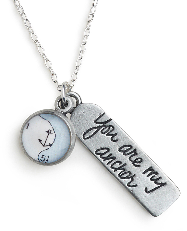 "18"" Pewter Anchor Message Necklace (Anchor + You are my anchor) by Chart Metalworks"