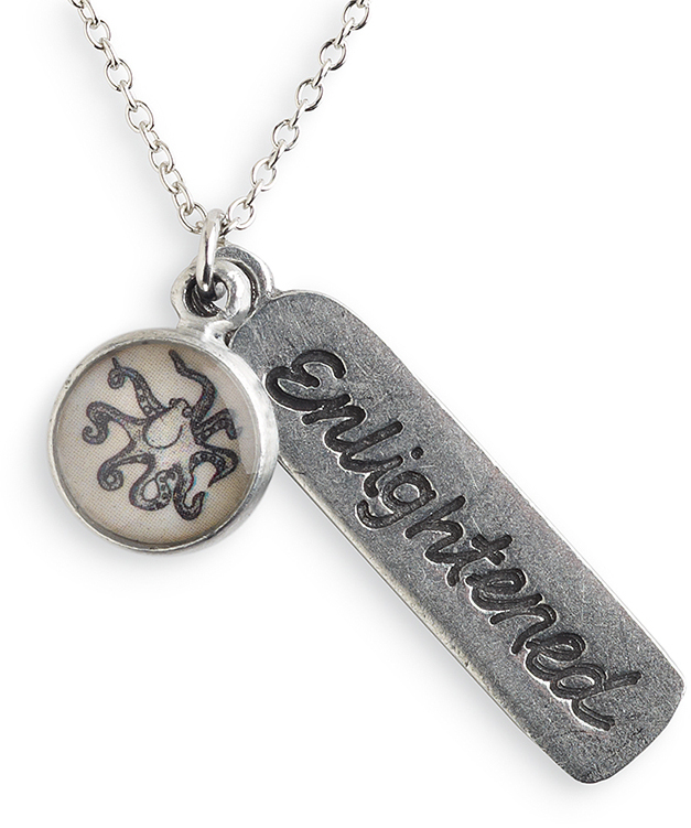 "18"" Pewter Enlightened Octopus Message Necklace (Octopus + Enlightened) by Chart Metalworks"
