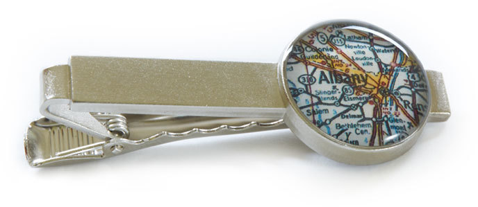 "Customizable Map Travel Jewelry - 3/4"" Pewter Tie Bar by Chart Metalworks"