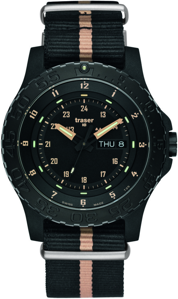 Traser Tritium Watch - Tactical Collection - P6600 Sand w/ Black-Sand Stripe Strap - 100232
