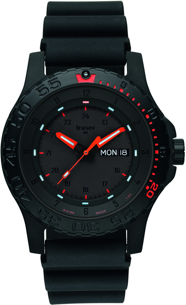 Traser Tritium Watch - Tactical Collection - Red Combat w/ Rubber Strap - 104148