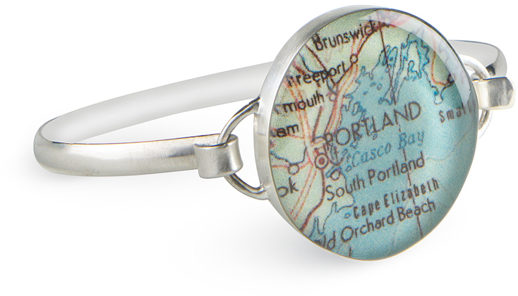"Customizable Map Travel Jewelry - 7.25"" Medium Bracelet 925 Sterling Silver by Chart Metalworks"
