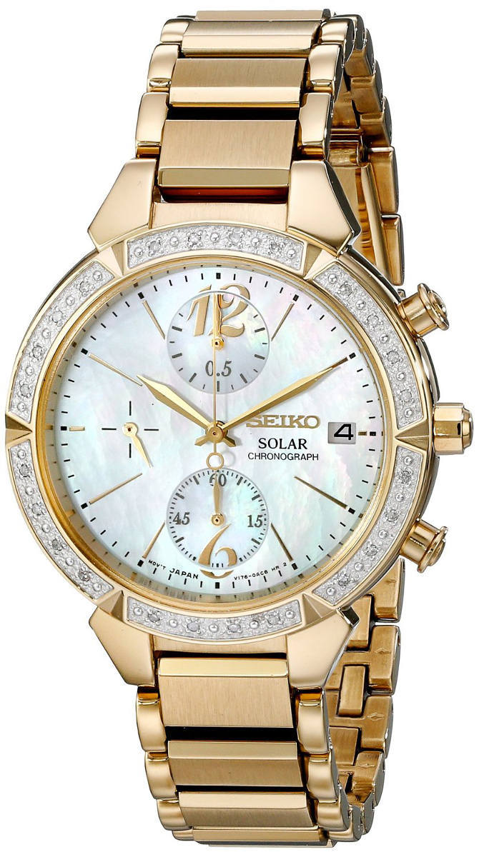 Seiko Core Collection SSC864 - Womens Gold Solar Chronograph Watch w/ Diamonds - DISCONTINUED