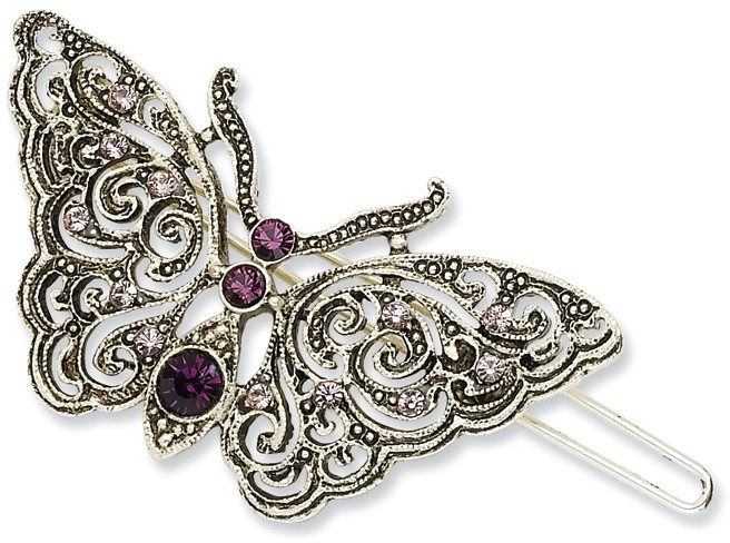 1928 Jewelry - Silver-tone Light & Dark Purple Crystal Butterfly Barrette