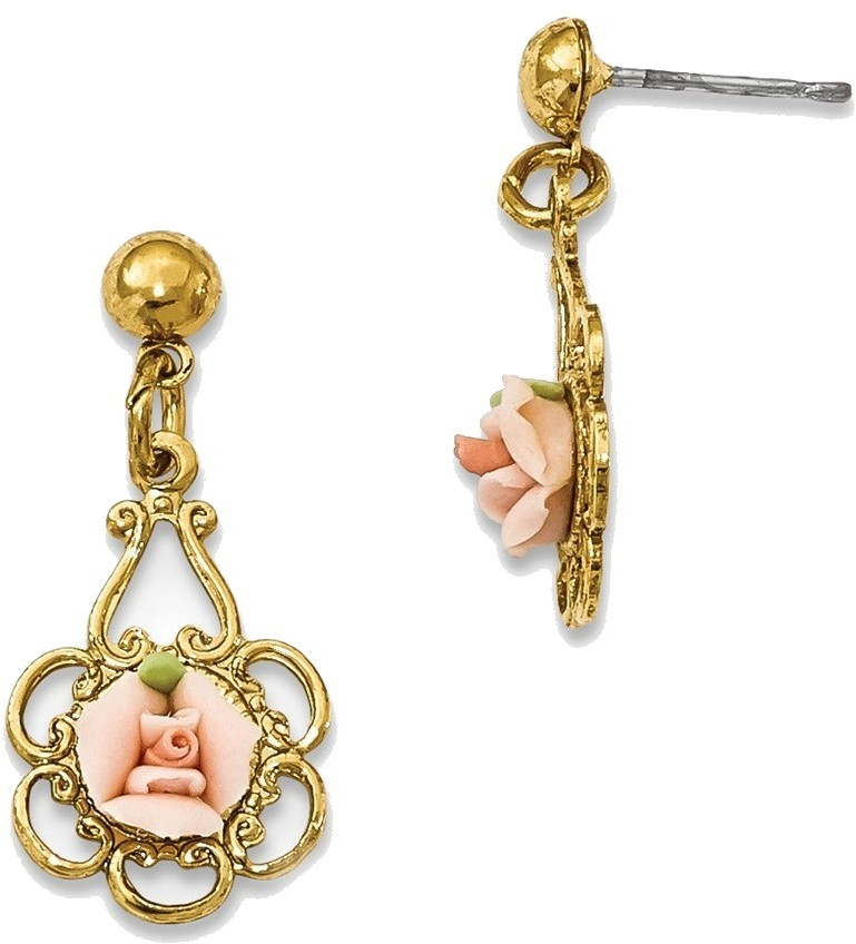 1928 Jewelry - Gold-tone Pink Porcelain Rose Filigree Post Dangle Earrings