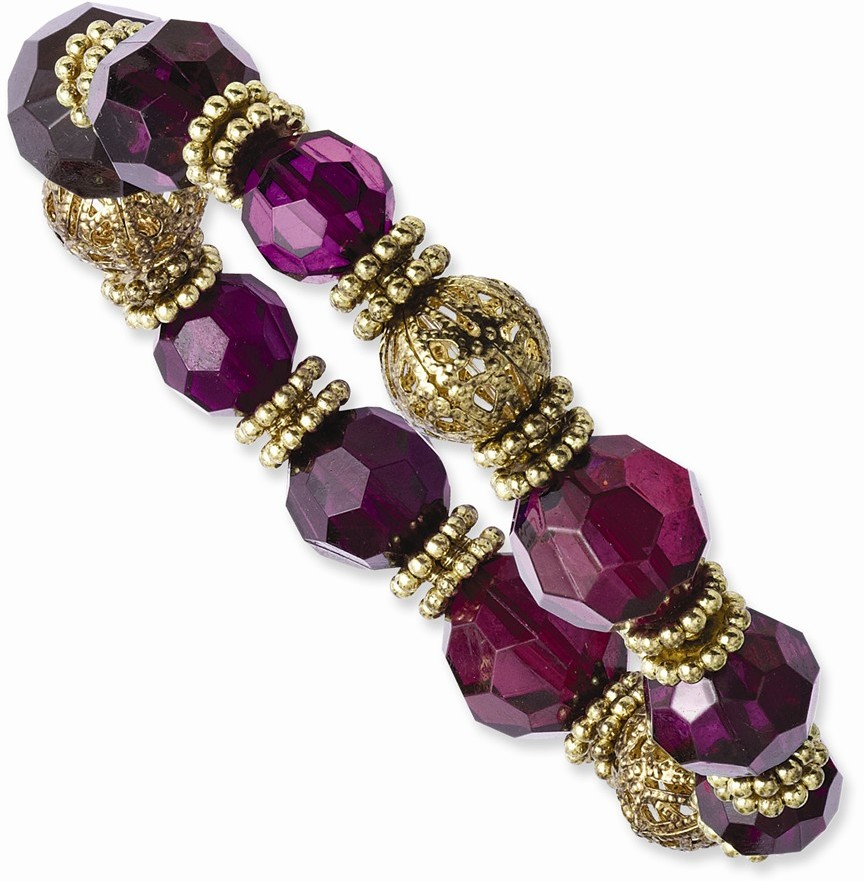 1928 Jewelry - Gold-tone Purple Crystal Stretch Bracelet