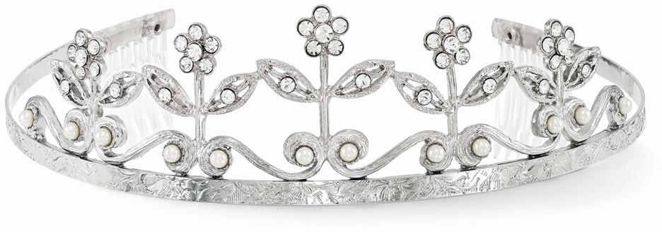 1928 Jewelry - Silver-tone Simulated Pearl White Crystal Flower Tiara