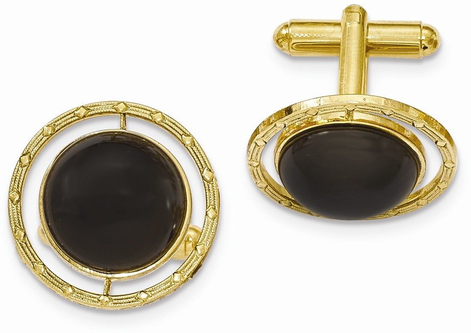 1928 Jewelry - Gold-tone Black Onyx Cuff Links