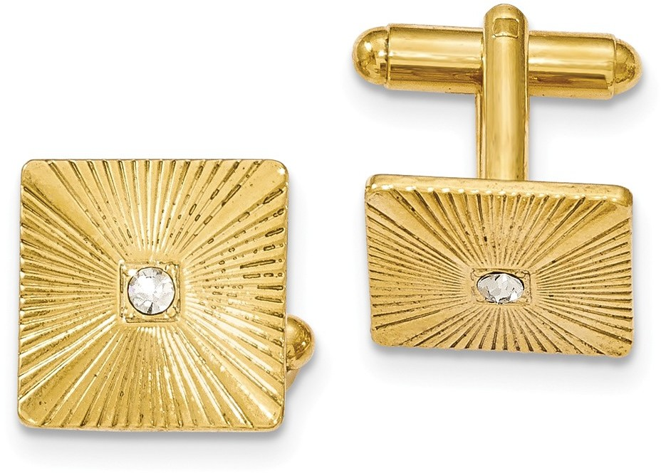 1928 Jewelry - Gold-tone Textured White Crystal Square Cuff Links