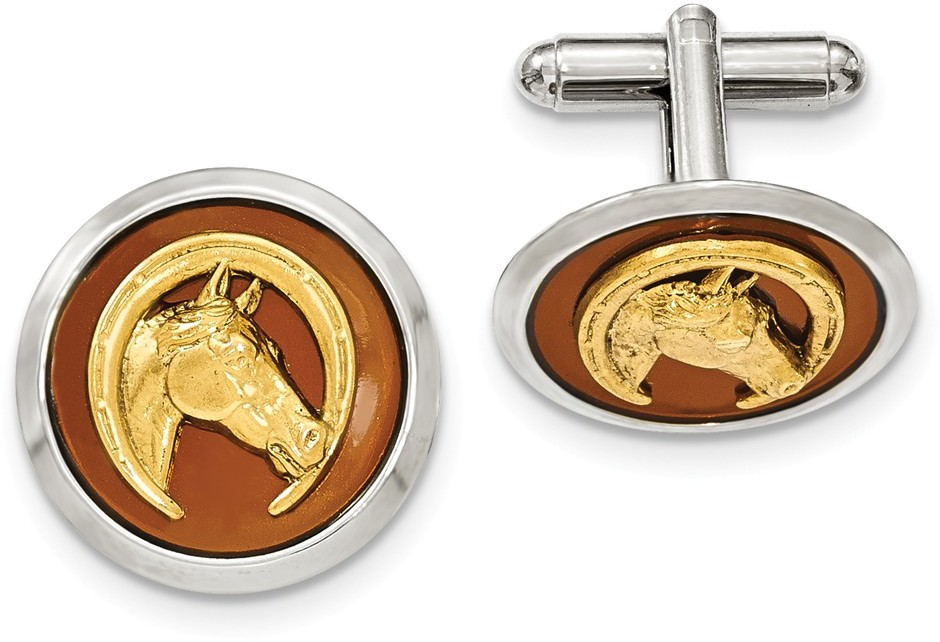 1928 Jewelry - Silver and Gold-tone Brown Enamel Horse and Horseshoe Cuff Links